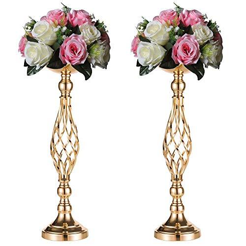 Sziqiqi Tischdekoration Blumenständer für Hochzeit Party Empfang, Eiserne Kerzenständer Säulenständer, Blumenständer für Haupttisch Empfangstisch, Dekoration für Feierliche Anlässe, 52cm × 2