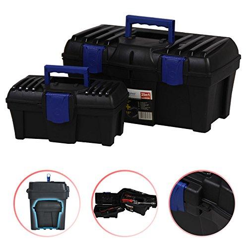 2 Werkzeugkoffer als Set 46x26x23cm Werkzeugkasten Sortimentskasten Werkzeugkiste Kleinteilemagazin