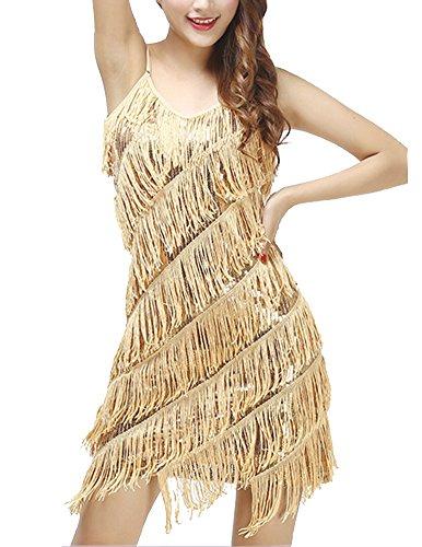 Damen Elegant Abendkleid Festlich Kleid Glitzer Vintage Ärmellos Tanz Kleider Aprikose Gold Einheitsgröße