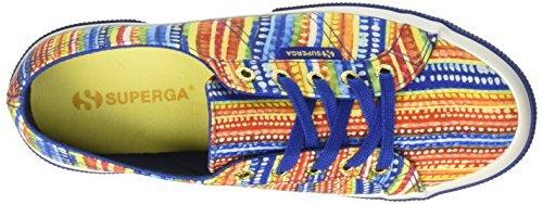 Superga Damen 2750-Sliponfabricfanplw Niedrige Sneaker Multicolore (Multicolor Blue)