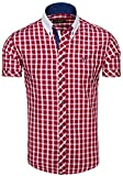 BOLF Herren Hemd Freizeithemd Figurbetont Slim Fit 5531 Weinrot M [2B2]