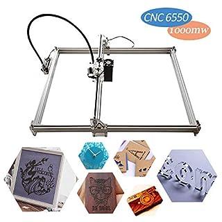 Laser-Graviermaschine 1000mw, craftsman168 DIY 6550 CNC-Maschine Precison 0.1mm mit USB-Schnittstelle, Carving-Maschine für ledernes hölzernes Plastik, Unterstützung GRBL mit Schutzbrille