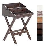 CLP Schreibtisch BALI aus Mahagoniholz mit ausziehbarer Tischplatte und zwei Schubladen| Handgefertigter Sekretär im Landhausstil | In verschiedenen Farben erhältlich Dunkelbraun