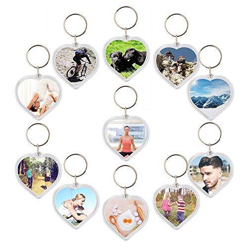 Kurtzy 50 portachiavi inserto foto plastica acrilica portachiavi vuoti supporto inserto foto a forma di cuore portachiavi con anello di salto fai da te matrimonio portachiavi regalo