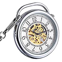 ManChDa Special Silver Smooth Pocket Watch Open Face Hand Winding Steampunk Skeleton Mechanical Golden Movement for Men Women with Chain + Gift Box