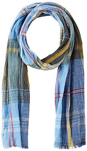 camel active Herren 407110 Schal, per pack Blau (BLUE/KHAKI CHECKED 47), One Size (Herstellergröße: OS)
