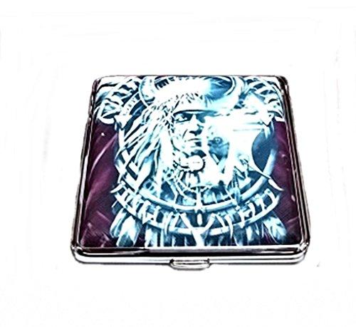 Zigarettenetui Etui für Zigaretten aus Metall verschiedene Motive Indianer (Motiv 1)