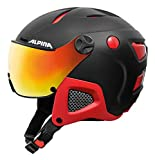 Alpina Attelas Visor Qvm Skihelm, Black-Red Matt, 53-58 cm