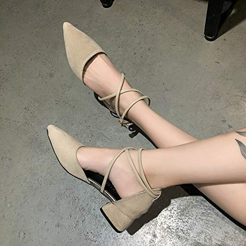 Uhrtimee Sandals Female Summer 2018 New Wild Korean Version of The Thick with Students In The Baotou Fairy Shoes Pointed Shoes, 37, Beige - Pointed Cap Toe Flats