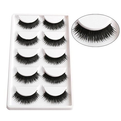 AGE CARE Smoky Soft Natural Black Thick Long False Eyelashes Extension Eye Makeup set- 5 Pairs