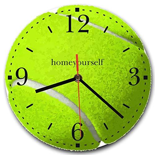 Homeyourself LAUTLOSE Runde Wanduhr Tennis Tennisball gelb aus Metall Alu-Verbund lautlos Uhrwerk rund modern Dekoschild Bild 30 x 30cm