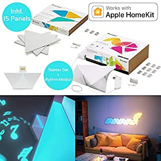 nanoleaf Aurora & Rhythm Starter Kit LED RGBW Farbwechsel-Panel und Sound-Modul 15er Set | App-Steuerung | 16 Millionen Farben | Kompatibel mit amazon Alexa/Echo, Apple HomeKit & Android