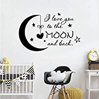 Bomdow I Love You to The Moon and Back Wall Decal Nursery Decor Moon Star Stickers Kids Room Decoration Poster Mural 57X91 cm