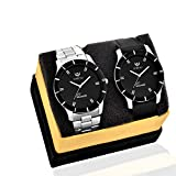 Lorenz MK-6609A Leather Strap/Metal Strap Watch Combo of 2 Stylish Black Dial Mens Wrist Watches/Boys Watches