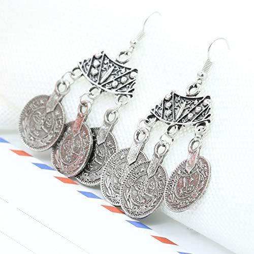 Hjktyu orecchini etnici bohémien fashion design settoriale boho gioielli indiani lunghi ciondolo antico monete antiche orecchini , placcato argento