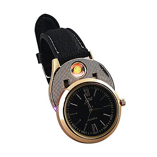Pawaca USB Lade Watch Feuerzeug | Neuheit Uhren für Männer | Flammenlose Zigarettenanzünder-Uhr | Sportliche Herrenuhr | Digitaluhr | Wiederaufladbare Windproof Zigarettenanzünder-Schwarz