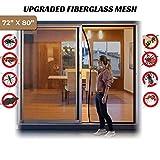 """Surpass 72""""(w) X 80""""(h) Magnetic Screen Door for French Doors/Sliding Glass Doors/Patio Doors,Hands Free Instant Mesh Mosquito & Bug Net Curtain Black"""