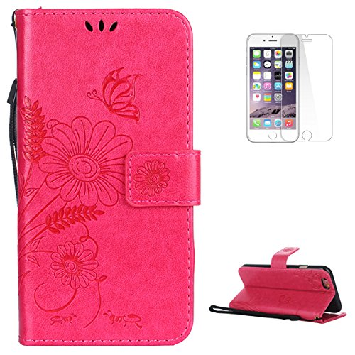 KaseHom Compatible for iPhone 6 Plus/6S Plus 5.5 Zoll Hülle Weich PU Leder Fall Flip Brieftasche Abdeckung mit [Magnetverschluss][Standfunktion] Leder Schale BAU im Stand Haut Stoßstange-Rose Rot