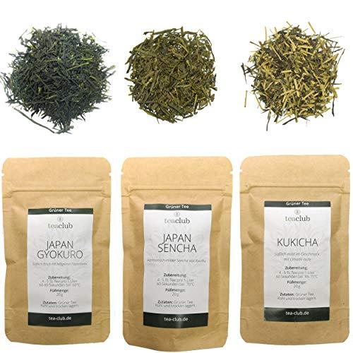 Japanischer Grüner Tee Lose Probierset Geschenkset, Signature Premium Grüntee Japan Sencha Gyokuro Kukicha 3x 20g, Tea-Club