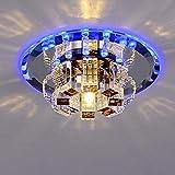 ZYY Moderne Minimalist LED Plafonnier Atmosphère Plafonnier Rond Simple Blanc Abat-Jour En Cristal Élégant Allée Corridor Balcon Cuisine Hall Plafond Éclairage Ø18cm 5W Blu-Ray