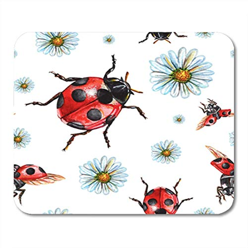 HOTNING Gaming Mauspads, Gaming Mouse Pad Colorful Watercolor Ladybug and Chamomile Hand Beautiful Perfect Scrap Booking 11.8