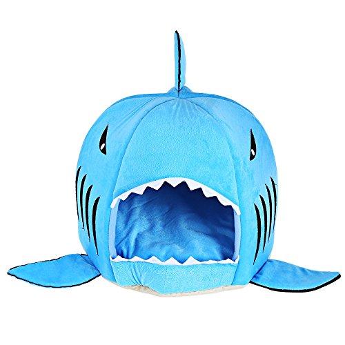 GBlife Nueva Cama Suave de Perros en Forma de Tiburón Casa de Mascotas con Cojín Extraíble(M, Azul)
