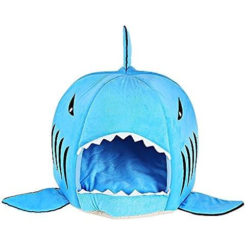 SmartLife Casa Cama Saco de Dormir Suave de Mascotas Perritos en la Forma de Boca de Tiburón con Cojín (M,
