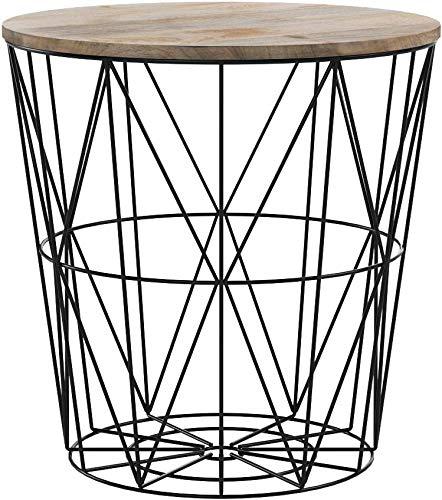 Invicta Interior Moderner Couchtisch Beistelltisch Storage aus Metall schwarz Holzdeckel aus Mangoholz Korb Aufbewahrung Tisch mit Mango Holz Ablage Aufbewahrungskorb
