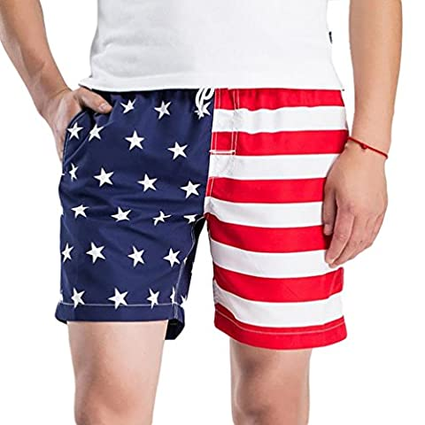 YOUJIA Men's Shorts with American Flag - Stars Striped Swim Trunks Board Shorts (White, 2XL)