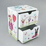 Minikommode Kinderkommode Schubladenbox Hase mint bunt 15x12cm