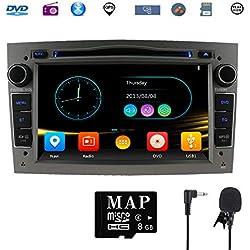 Stereo Home 7 pouces Autoradio GPS Navigateur pour Voiture pour Opel, unité de tête stéréo Voiture 2 Din avec Lecteur de CD/DVD, USB SD, 720P Video,FM AM RDS, Wince Système Bluetooth (Gris)