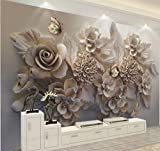 Papier peint mural personnalisé 3D relief européen tridimensionnel esthétique 3D fleur papillon salon canapé fond d'écran (1 mètre carré)