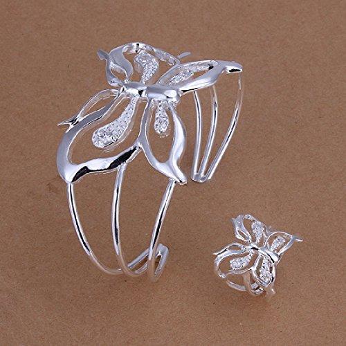 hion 925Silber plattiertes Schmuck-Set, Armband, Ring aus Zirkon mit Schmetterling (Ring Armbänder)