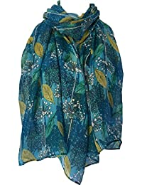 Purple Possum Turquoise Floral Scarf Ladies Blue Mustard Yellow Flowers Wrap Flower Leaves Shawl