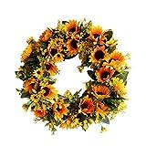Deko Kranz Sonnenblume Handgefertigt Kranz Tür Hängen Wandkranz Groß Ø 40cm, blumenkranz Für Dekoration, Hotel Anhänger Kranz By Pultus