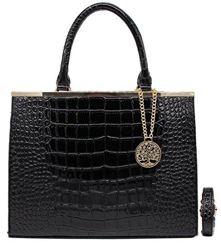 Handtasche Henkeltasche Shopper eleganter Stil Kroko echt Leder schwarz ital