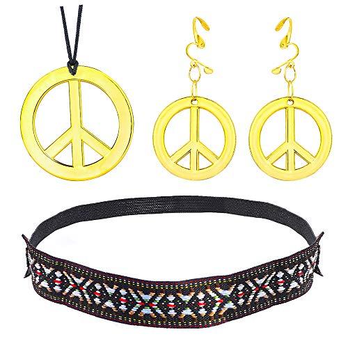 Beelittle Hippie-Kostüm Set - 60er Jahre Kreis Brille Friedenszeichen Halskette Hippie Stirnband 60er Jahre Party-Zubehör-Kit (F) (70 Jahre Mode Für Männer)