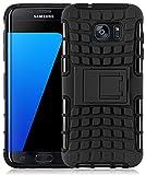 JAMMYLIZARD Outdoor Hülle für Samsung Galaxy S7 Edge | Schutzhülle [Alligator] Doppelschutz Handyhülle Hardcase aus Polycarbonat und Silikon Backcover Lifeproof Case Cover, Schwarz