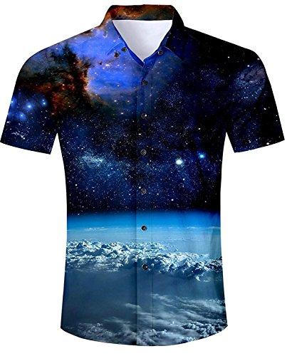 Drucken Regular Fit Hemd (AIDEAONE Herren Nachthimmel Funky Drucken Kurzarm Urlaub Hemd Dunkelblau)
