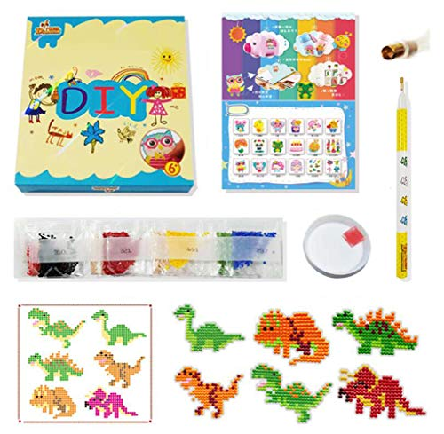 ianting Kits für Kinder, DIY-Diamant-Dotz-Kits, Zeichnungs-Werkzeuge, Kristall-Mosaik-Aufkleber nach Zahlen, Kits Kunst und Handwerk Set für Kinder - Dinosaurier ()