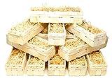 Lashuma 12 Set Aufbewahrungsbox groß, für Obst - Gemüse - Flaschen, Holzkisten inklusive Holzwolle 35 x 11 cm