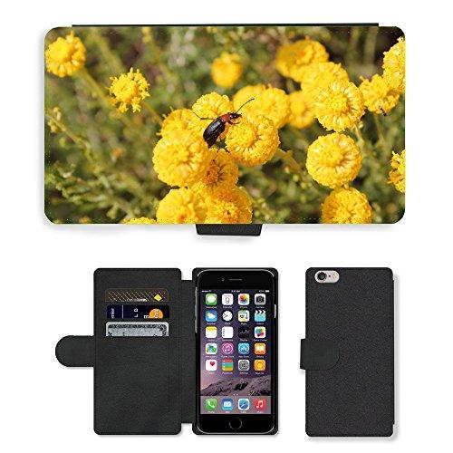 Just Mobile pour Hot Style Téléphone portable étui portefeuille en cuir PU avec fente pour carte//m00139988insectes Fleurs Jaune Nature//Apple iPhone 6Plus 14cm