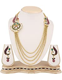 Dancing Girl Bridal Dulhan Purple Green Metal Alloy Jewellery Set With Necklace And Earring For Women