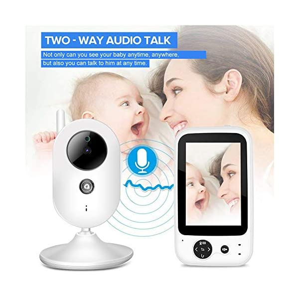 """SONEW Wireless Video Baby Monitor,3.5"""" LCD Digital Screen for Signal Transmission Support Night Vision Two-Way Talk Temperature Sensor Voice Activation Lullabies Multi-Language Sonew 【TEMPERATURE SENSOR】Constantly monitors the temperature in your baby's room and alerts you when it is too hot or too cold.When you find that the temperature of your baby's room is too high or too low, you can add a bedding or reduce the bedding to your baby in time to prevent your baby from getting sick due to temperature. 【TWO-WAY TALK】Built-in advanced microphone and speaker for clear two-way audio conversations. Not only can you see what's happening, but also send voice commands, and talk with your little one. Transmitting distance is up to 1,000 ft.Parents must hope to witness each stage of their child's growth. Talking is a very important stage. With this product, you can communicate with your baby at any time, hear your baby's voice, and witness your baby's growth. 【SOUND-ACTIVATED LED LIGHTS 】Allows you to see how much noise your baby is making in case he/she is crying.You must hope to stay with your baby all the time, but because of work or some other reason, you may not be able to stay with your baby all the time, but with this product, you can observe every detail of the baby, once the baby is crying You can find it by activating the LED light. 2"""