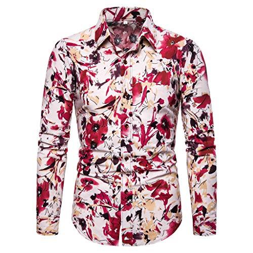 Kostüm Kühlen Asiatische - Setsail Herren Sommer Mode Business Freizeit Druck Langarm Shirt Top Bluse Kühle Sonnenschutzkleidung