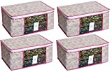 #4: HomeStrap Pack of 4 Non Woven Floral Saree/Clothes Cover with Window - Pink