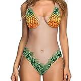 SOMESUN Monokini Damen One Piece Badeanzüge Bikini Sport Badeanzug Kreativ Entwurf Komisch Pflanzen Druck Damen Figurformend Badeanzüge (XL, Ananas)