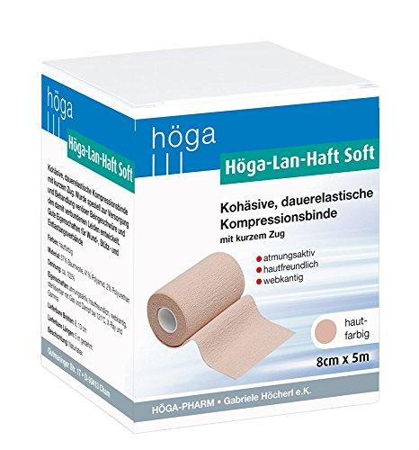 Höga Pharm Lan-Haft Soft kohäsive, hautfarben 8cm x 5m, dauerelastische Kompressionsbinde mit kurzen Zug, atmungsaktiv, hautfreundlich,...