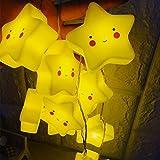 kingko LED Solar Lichterkette Sterne Lächeln 1 Meter 10er Warmweiß,Außerlichterkette Deko für für Garten, Bäume, Terrasse, Weihnachten, Hochzeiten, Partys, Innen, Der abstand zwischen (Gelb)
