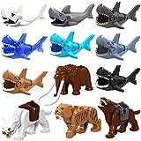 NURICH 12er 3D Puzzle Bausteine Spielfigur Mini Tiere Figuren Set: Tiger, Elefant, Hai, Wölfe, passen zum Lego Tiere